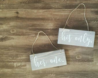 Her One His Only Signs, Mr and Mrs Signs, Mr & Mrs Signs, Hanging Chair Signs, Wedding Chair Signs, Small Wedding Sign, Rustic Wedding Signs
