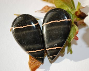 set of 2 Jasper STRIPED 32x18mm cabochon semi precious stone