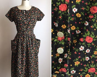 1950s cotton dress M ~ vintage floral day dress