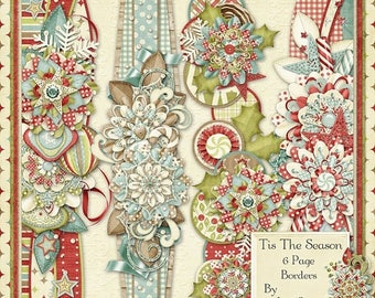 On Sale 50% Christmas, Holiday, Tis The Season, 12 inch Page Borders, Instant Download, Digital Scrapbooking Kit, Scrapbooking