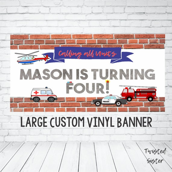 Emergency Vehicles Birthday Banner Firefighter Party