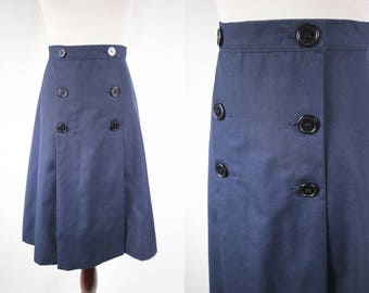 1940's Navy Blue Cotton Double-breasted Highwaisted Swing Skirt