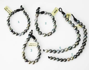 Tahitian  Pearl Bracelet on Leather bracelet or Stretch Bracelet 7mm to 10mm (133)