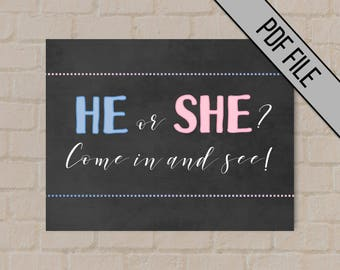 Gender Reveal Party Sign | Instant Download | 8.5 x 11 | He or She | Gender Reveal Ideas Gender Reveal Decor | Gender Reveal Sign | Baby
