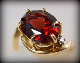 Gorgeous, Handcrafted, One-of-a-Kind Red Almandine Garnet, Diamond, and Yellow Gold Ring -  New - Handmade by Werner Theobald, Goldsmith