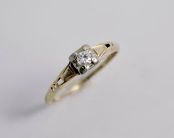 Vintage 1940s 14k Yellow and White Gold Diamond Ring, Vintage Engagement Ring, Two Tone, Mixed Metals, Diamond, Ready to Ship Size 4.75