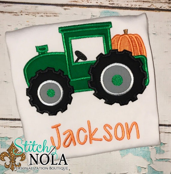 Pumpkin Tractor appliqué, Halloween shirt, tractor with pumpkin shirt, boys fall shirt