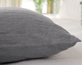 Stonewashed linen charcoal grey pillow case - softened linen grey pillow- housewife standard, queen, king sizes- light grey linen pillow