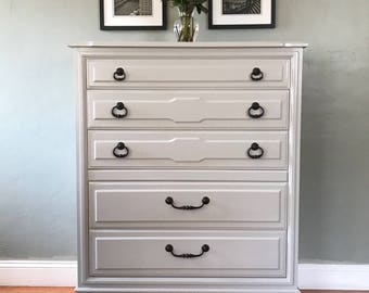 available soft gray solid wood mid century highboy dresser