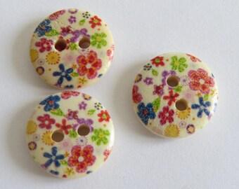 Red, blue, yellow flower pattern wooden button