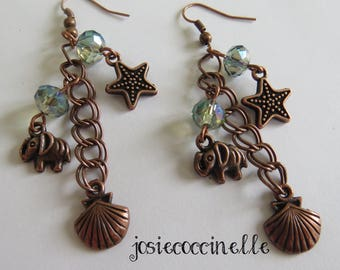 Earrings, elephant, shell and starfish by JosieCoccinelle