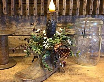 Antique Wooden Child Shoe Last Timer Candle Unusual Primitive Home Decor Item