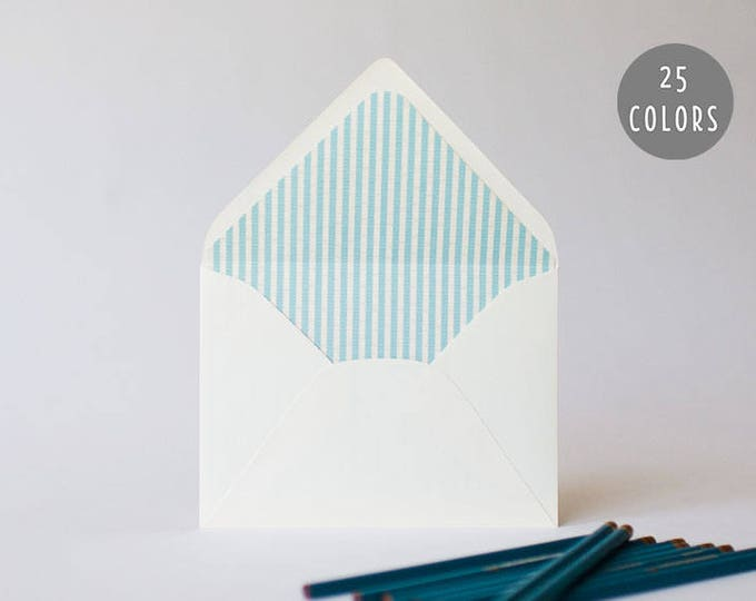 seersucker lined envelopes (25 color options) - sets of 10 // envelope liners lined envelopes wedding baby shower party invitation invite
