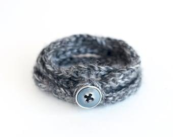 Charcoal gray wrap bracelet, crochet bracelet, textile jewelry, fall trends, boho wrap knit bracelet, boho chic jewelry, grey knit jewelry