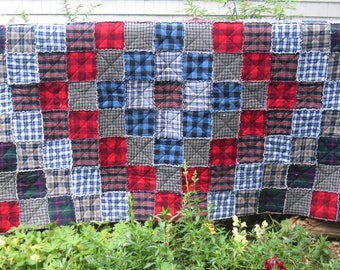"Trip Around the World, Quilt-as-you-go, Denim and Flannel Rag Quilt 86.5"" x 52.5"""