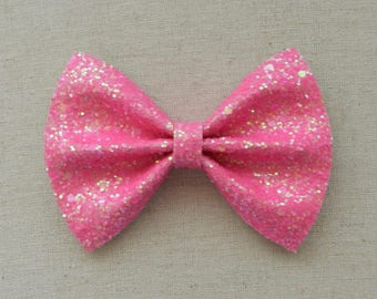 Neon Magenta Pink Glitter Bow Tie Bow, majenta Glitter Bow Tie Bow, Pink Glitter Hair Bow