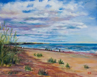 Oil Painting Lunan Bay Scottish Landscape Study Original Artwork Home Decor Wall Decor Wall Hanging Art 40x50cm
