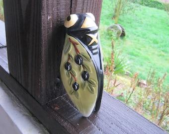 Cicada Wall Pocket, Cicada Pottery Vase, French Vintage Cicada Wall Pocket