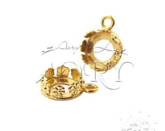 1pcs 24K Gold Plated Brass Flower Crown Bezel Setting for 8mm Stone, 1038GP, Shiny Gold Color, Made in Israel, 8mm Flower Bezel Cup