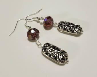 Elegant Silver Dangle Earrings, Red purple statement earrings, Silver drop earrings