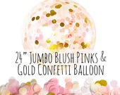 "24"" Blush Pink and Gold Confetti Balloon, Big Clear Balloon, Tissue Paper Confetti Filled Balloon, Party Decoration, Wedding, Photo Prop"