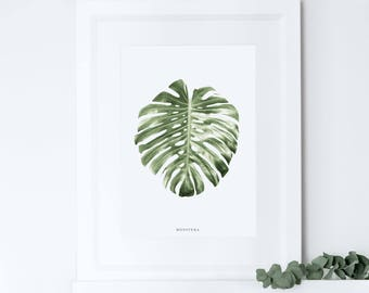 Plant Leaf Print, Monstera Leaf Print, Botanical Prints, Home Decor, Giclee Print, Housewarming Gift, Crazy Plant Lady, Moving Present Gift