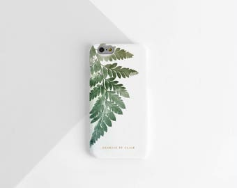 Botanical Phone Case, Personalised Phone Case, iPhone 6, iPhone Case, iPhone 7 Case, Samsung Phone Galaxy Case, Fern Leaf, Gift for Her,