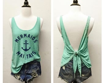 MERMAIDS + MAI TAIS...Seafoam/Navy Slub Modal, Open Tie Back, Flowy, Muscle Tee,Graphic Tank, Message Tee, Brunch