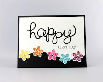 Happy Birthday Flower Card - Hand Stamped Card - Stampin Up Card - Handmade Birthday Card - Flower Card - Handmade Card