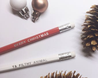 Engraved pencils, set of 2 red and white - Merry Christmas ya filthy animal
