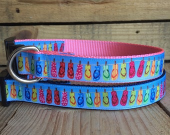 "Flip flop Dog Collar, summer Dog Collar, Pink Dog Collar, Blue Dog Collar, Quick Release Buckle, 1"" Wide"