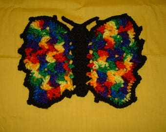 """RAINBOW BUTTERFLY POTHOLDER - Crocheted Double Sided Potholder, made w/ Red Heart Multicolor Yarn w/ Black Trim, 10.75"""" width, 8"""" length"""