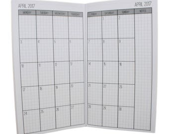 2017-2018 Academic Year Monthly Grid Planner {Large/Cahier Size} Traveler's Notebook Insert Booklet
