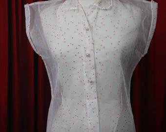 1950's Vintage Nylon Pink Flocked Love Hearts Shirt