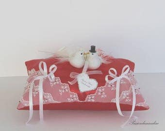 Wedding lace ring pillow great couple of doves and feathers