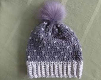 Snowdrop Hat   ribbed brim crochet pom pom topped hat cap slouched beanie