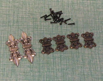 Fleur di Lis Hinges Homecraft 2 Styles and Sizes Craft Supplies and Steam Punk Jewelry