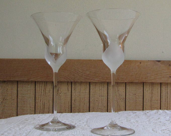 Mikasa Fiore Wine Glasses Vintage Barware Wineglasses Frosted Petals 1981-1987 Set of Two (2)