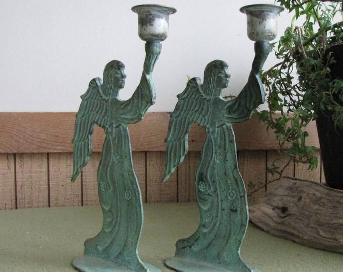 Green Metal Angel Candle Holders Two (2) Angels Candlesticks Vintage Holiday Lighting