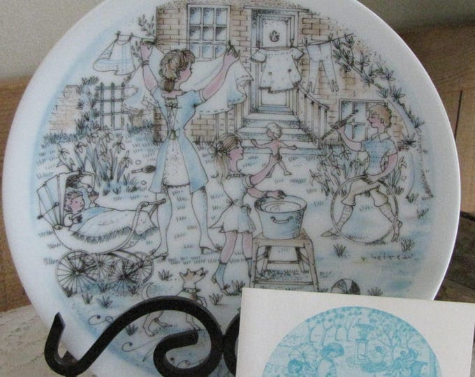Mother's Day Haviland Decorative Plate The Wash 1974 Second in a Series Collectible Plates and Home Décor
