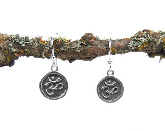 Sterling Silver Ohm Earrings - Yoga Jewelry - Tiny Earrings