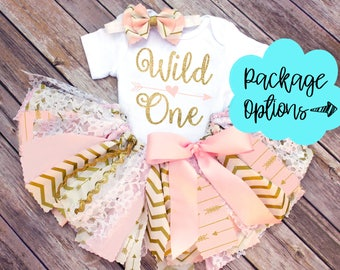Wild One First Birthday Fabric Tutu, Top and Headband Outfit // Any Color/Age // Pink, Gold, Peach, White // Baby, Toddler, or Girl