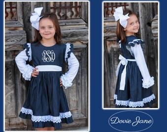 Monogrammed Girls Dress, Fall Dress, Girls Thanksgiving Dress, Chambray Girls, Chambray Monogrammed, Monogrammed Denim Dress, Denim Lace,