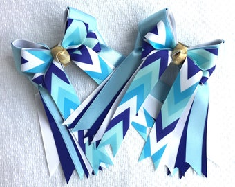 Equestrian Hair Bows/Beautiful Turquoise Chevron/Blue