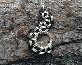 Black Chainmaille Necklace -  Chainmaille pendant - Black jewelry - Silver necklace - Enameled copper - Silver fill - Chainmaille Jewelry
