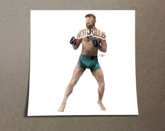 Conor McGregor Poster Typography Design of Him In His Uniform Getting Ready to Fight. The Notorious Irish Mixed Martial Artist on Poster