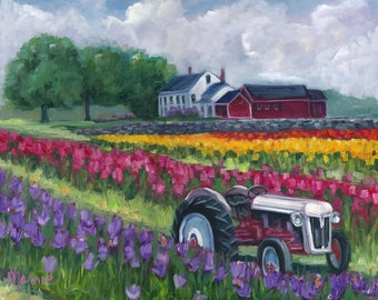 Tractoring through the tulips, original art, oil painting, landscape art, landscape, tulips