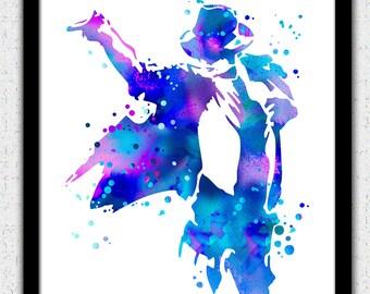 Michael Jackson print, Michael Jackson art print, Michael Jackson silhouette, Michael Jackson painting, purple blue pink Michael Jackson