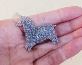 Unicorn brooch silver glitter, unicorn, gift for friend, mother's day unicorn origami Unicorn Plexiglas, Unicorn jewelry