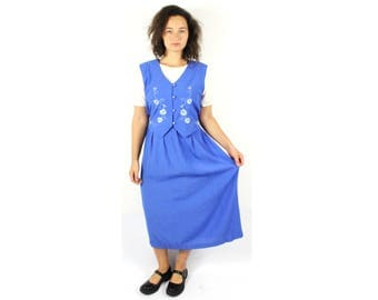 Vintage Dirndl dress, Alpen dress, Bavarian dress, Austrian dress, Blue womens dress, German Folk dress, Oktoberfest dress, National / Large